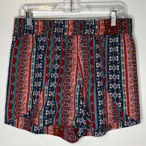 Elan Elastic Waist Shorts Large Red, Blue Pattern